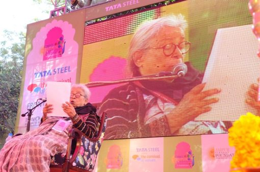 Mahasweta Devi at Jaipur Literature Festival 2013 with her keynote speech - O to Live Again (2)