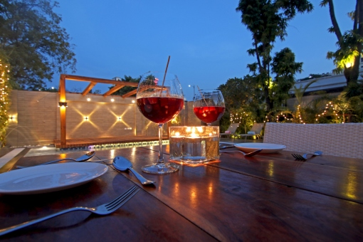 Romantic poolside dinner at Devraj Niwas
